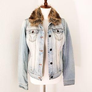 Hollister lightly distressed blanket lined jacket